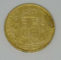 1873 YOUNG HEAD QUEEN VICTORIA SHIELD BACK 22CT GOLD SOVEREI