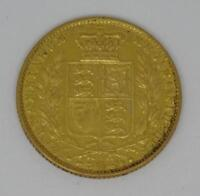 1862 YOUNG HEAD QUEEN VICTORIA SHIELD BACK 22CT GOLD FULL SO