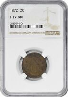 1872 TWO CENT PIECE F12BN NGC