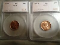 LINCOLN CENT LOT GRADED BY ANACS, 1940-D MINT STATE 66 RED, 1940-S MINT STATE 66 RED.