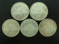 LOT OF  5  1966 CANADIAN SILVER DOLLARS $1 SILVER COINS