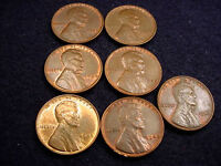 1940 & 1948 LINCOLN CENTS 7 COIN SET ALL  BU BROWN CENTS 16