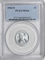 1943-S LINCOLN WHEAT CENT PENNY PCGS MINT STATE 66RD