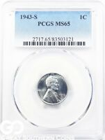 1943-S PCGS LINCOLN CENT WHEAT CENT, WARTIME STEEL PENNY, PCGS MINT STATE 65