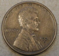 1921-S LINCOLN WHEAT CENT EXTRA FINE
