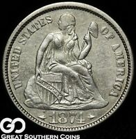 1874 SEATED LIBERTY DIME W/ ARROWS, BETTER DATE TOUGH TYPE