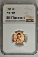 1954 1C PROOF LINCOLN WHEAT CENT NGC PF 67 RD