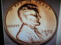 1955-S 1C RD LINCOLN CENT WITH GREAT COLOR