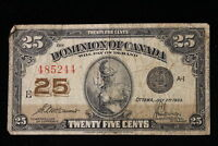 1923 DOMINION OF CANADA. 25 CENTS. SHINPLASTER. MCCAVOUR SAUNDERS.
