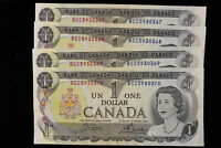 1973 CANADA.  $1  ONE DOLLAR. 4 X CONSECUTIVE NOTES. SERIES BCC CROW BOUEY.