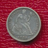 1888 SEATED LIBERTY SILVER DIME FULL