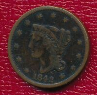 1842 BRAIDED HAIR LARGE CENT INTERESTING TYPE COIN SHIPS FREE