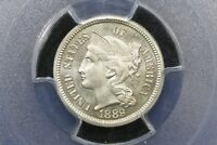 1889 GEM PROOF 3 CENT NICKEL PCGS PR 65