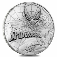 2017 1 OZ TUVALU MARVEL SERIES   SPIDERMAN .9999 SILVER COIN BU IN MINT CAPSULE