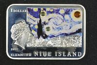 2007 $1 NIUE VAN GOGH STARRY NIGHT PROOF 1 OZ STERLING SILVER W/COA