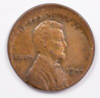 1C 1944 WHEAT CENT 10  OFF CENTER BU BROWN