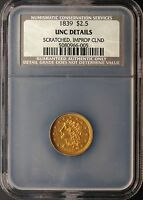 1839 $2.50 GOLD CLASSIC HEAD NCS UNC DETAILS COIN