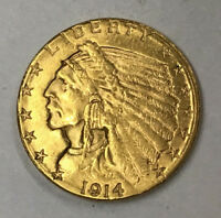 1914 D $2 1/2 GOLD INDIAN COIN   NICE UNCIRCULATED COIN   10