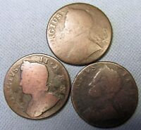 LOT OF 3 KING GEORGE II BRITISH US COLONIAL COPPER HALFPENNY