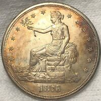 1876 S TRADE SILVER SEATED DOLLAR HIGH UNCIRCULATED. PRETTY