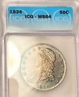 1834 CAPPED BUST HALF DOLLAR ICG MS64 TONED GEMMY MINT KEY P