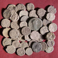 LOT OF 40 UNCLEANED LATE ROMAN BRONZE COIN