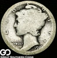 1916 D MERCURY DIME COVETED LOW MINTAGE KEY DATE DENVER ISSU