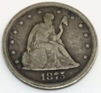 1875 S TWENTY CENT PIECE 20C SITTING LIBERTY SILVER TYPE COIN