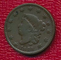 1828 CORONET HEAD LARGE CENT SMALL WIDE DATE SHIPS FREE