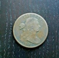 1802 DRAPED BUST LARGE CENT, VINTAGE EARLY DATE COPPER PENNY 1C COIN