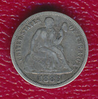 1886 SEATED LIBERTY SILVER DIME FULL