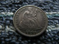 1891 SEATED DIME WITH MISPLACED DATE IN DENTICLES