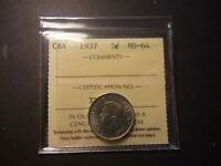CANADA 1937 5 CENT ICCS MS 64  PLUS GRADE REALLY NICE