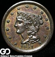 1851 HALF CENT, BRAIDED HAIR, SHARPLY STRUCK BU EARLY COPPER