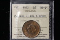 1892 CANADA. LARGE CENT. ICCS GRADED MS 64 R&B.  WE005 . OLD HOLDER.