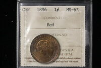 1896 CANADA. LARGE CENT. ICCS GRADED MS 65 RED.  SL375 . OLD HOLDER.