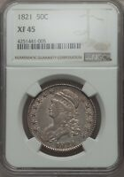 1821 CAPPED BUST HALF NGC XF 45