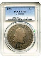 1795 $1 EARLY DOLLAR FLOWING HAIR 3 LEAVES -  VF20 PCGS