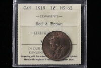 1919 CANADA. LARGE CENT. ICCS GRADED MS 63 R&B.  XRZ706