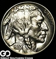 1937 D BUFFALO NICKEL 3 LEGGED AVIDLY PURSUED CHOICE AU   KE