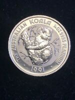 AUSTRALIA 1991 P PLATINUM 1/4 OZ $25 .999 PURE    LOW MINTAG
