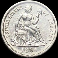 1891 SEATED LIBERTY DIME NICELY UNCIRCULATED BU PERFECT SILV