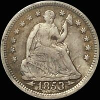 1853 SEATED LIBERTY HALF DIME WITH ARROWS CIRCULATED SILVER