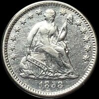 1858 SEATED LIBERTY HALF DIME HIGH END PERFECTLY CIRC SILVER