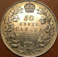 1919 CANADA SILVER 50 CENTS FIFTY CENTS HALF DOLLAR   UNCIRCULATED DETAILS
