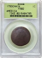 1793 1C FLOWING HAIR CHAIN REVERSE AMERICA LARGE CENT PCGS FR02 GEN 2.2 OGH