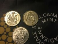 1960 CANADIAN SILVER HALF DOLLAR 50 CENT COINS. LOT OF 3 SIL