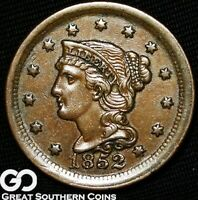 1852 LARGE CENT, BRAIDED HAIR,  STRIKE, CHOICE BU COPPER