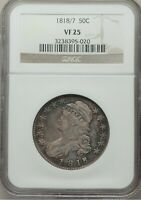1818/7 CAPPED BUST HALF DOLLAR, SMALL 8, O-102A R2, NGC VF-25