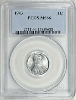 1943 LINCOLN WHEAT CENT PCGS MINT STATE 66